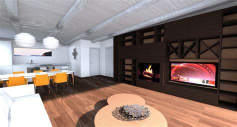 tv su camino foto rendering progetto parete attrezzata con camino e tv