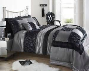 Ruffled Duvet Cover Black Silver Colour Stylish Ruffled Sequin Duvet Cover
