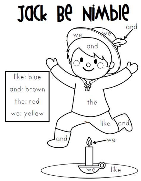jack be nimble page coloring pages
