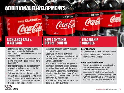 chris sullivan coca cola coca cola amatil ltd adr 2017 q2 results earnings