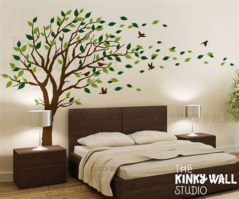 blowing tree wall decal bedroom wall decals wall sticker vinyl art wall design kk  etsy