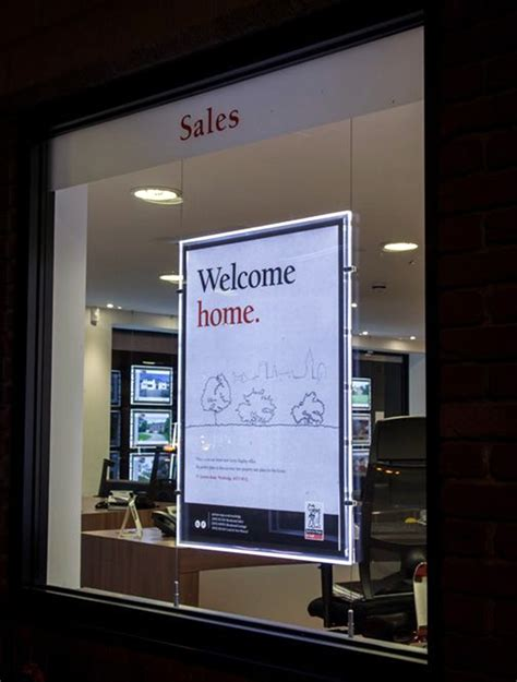 lighted window displays single sided estata window display illuminated acrylic signs a1 poster frames led