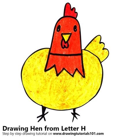 Letter H Drawing by Learn How To Draw A Hen From Letter H Animals With
