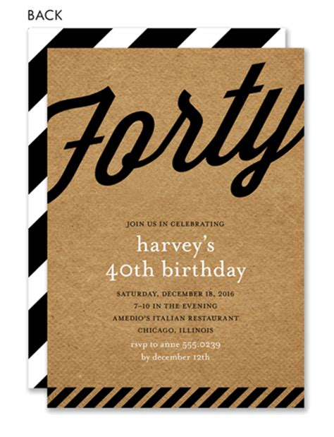 40th birthday invitations retro kraft 40th birthday by noteworthy collections
