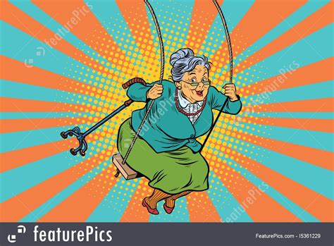 swinging old lady illustration of old woman swinging on a baby swing