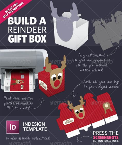 printable reindeer gift box build a reindeer holiday gift box template by