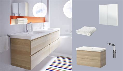 badezimmer vanity wandspiegel godmorgon odensvik skab med vask og 2 skuffer af eg med