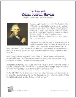 mozart biography for elementary haydn biography page from makingmusicfun net found on
