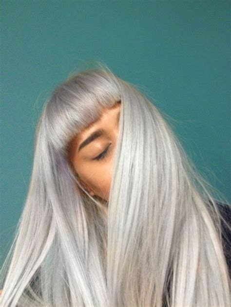 long gray hair with bangs silver style picmia