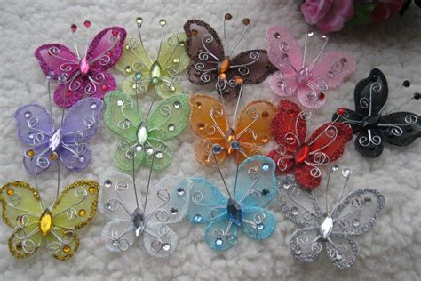 How To Make Holiday Crafts - 5 cm silk butterfly christmas decorative butterfly christmas diy crafts scrapbooking card making