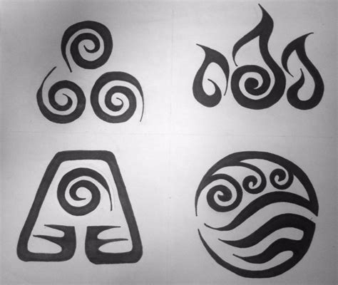 elemental tattoo designs avatar element symbols tribal design by