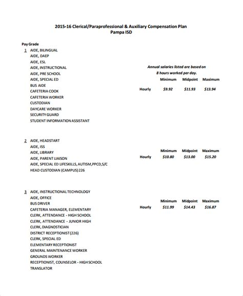 compensation plan template 8 free word document