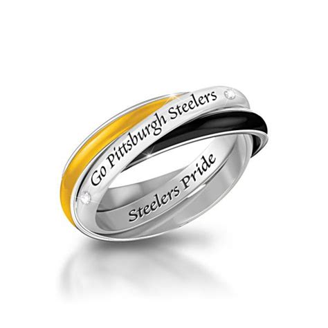 Pittsburgh Steelers 3 Band Rolling Ring With Engraving