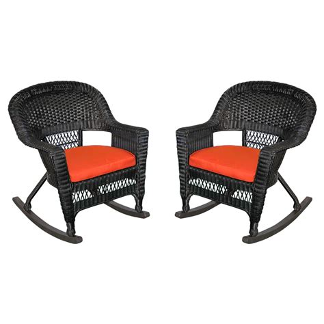 Black Wicker Rocking Chair Outdoor by Black Rocker Wicker Chair With Cushion Set Of 2