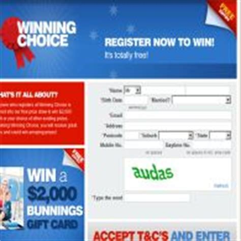 Bunnings Gift Card Terms And Conditions - winning choice win a 2 000 bunnings gift card competitions com au