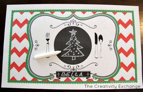 printable xmas table mats free printable child s chalkboard placemat november