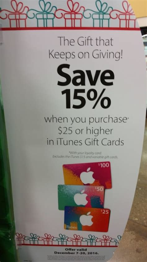Who Has Itunes Gift Cards On Sale This Week - unadvertised itunes gift card sale at kroger through 12 20 points with a crew