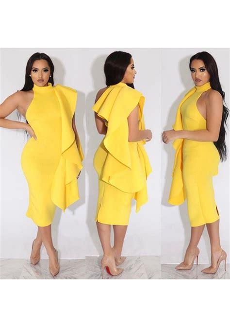 Yellow Irregular Ruffle High Neck Sleeveless Slit Bodycon Elegant Midi Dress   Midi Dresses