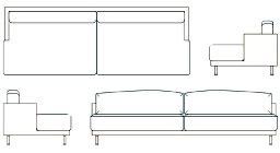 blocchi cad divani divano 2d