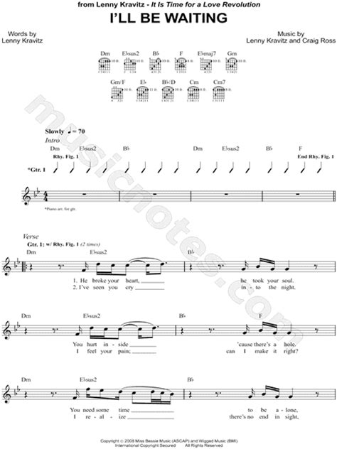 New Lenny Kravitz Ill Be Waiting by Lenny Kravitz Quot I Ll Be Waiting Quot Guitar Tab In D Minor
