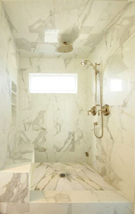 marble tile shower calcutta marble shower surround contemporary bathroom