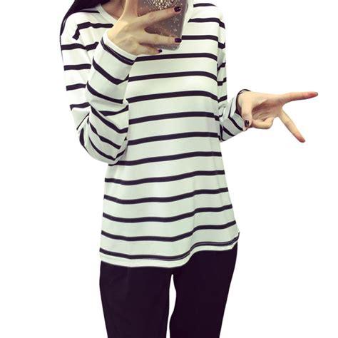 sleeve black white blouse stripe pattern cotton blend o neck tops plus size m