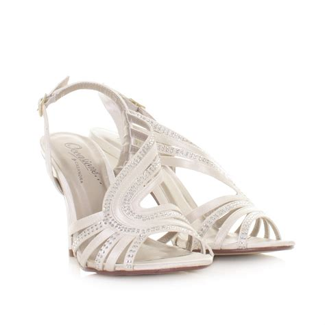 Strappy Ivory Bridal Shoes by Womens Ivory Satin Diamante Gem Strappy Slingback Bridal