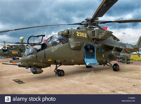 helicopter scow mi 35m attack helicopter at maks 2015 air show in moscow