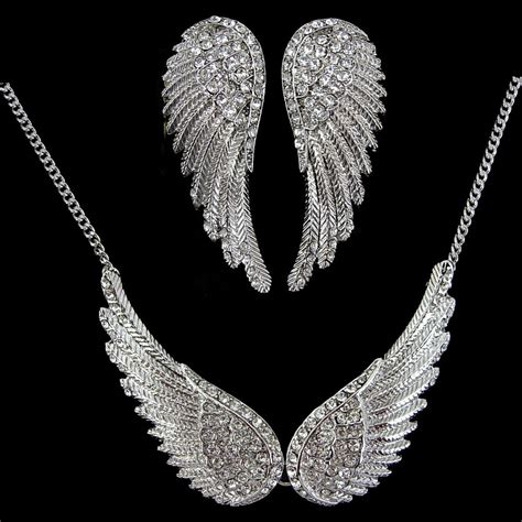 Choker Pearly Wings Choker 5 5cm big wing austria white gold plated necklace earrings set ebay