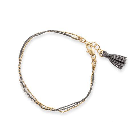 grey facet bead chain tassel bracelet oliver bonas