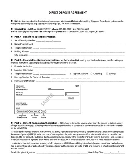 direct deposit authorization form samples 8 free documents in