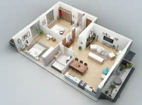 Two Bedroom Plan Design Apartment Designs Shown With Rendered 3d Floor Plans