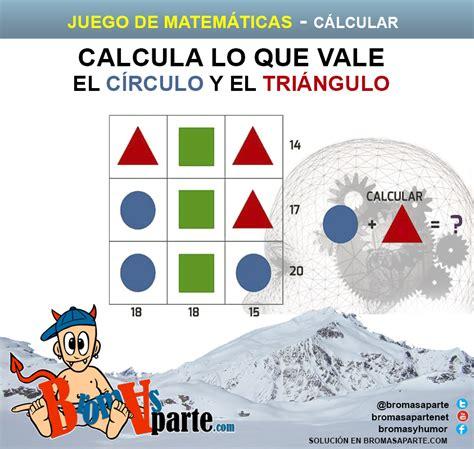 juegos matemticos y de juegos de matem 225 ticas calcular valores del c 237 rculo y del tri 225 ngulo bromasaparte com