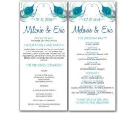 Diy Peacock Wedding Program Microsoft Word Template Tea Length Wedding Invitations