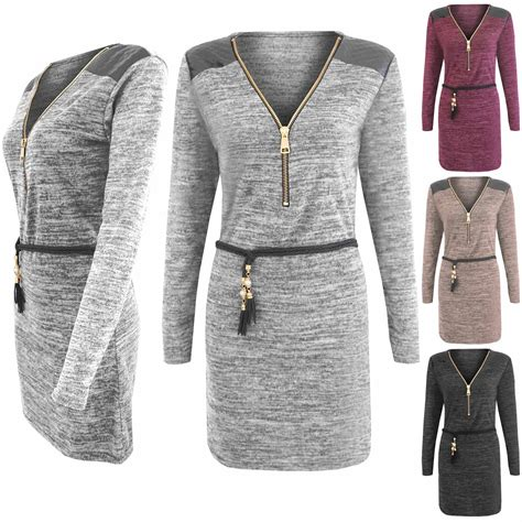 Ca161 New Rope Knit Top new zip front marl knit rope belt jumper womens pu patches dress top