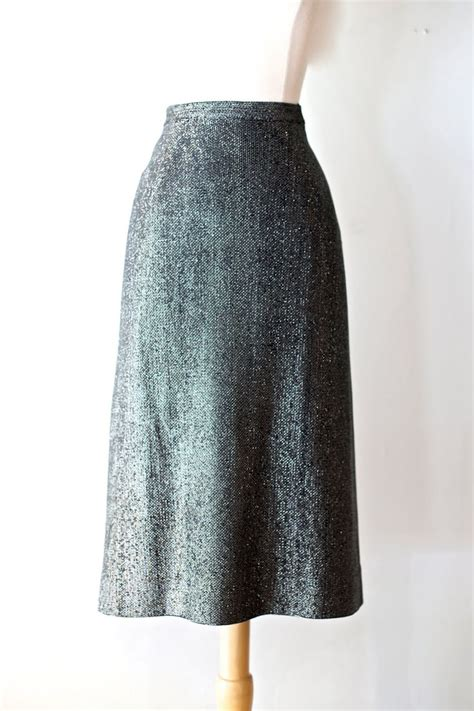 vintage 1940s silver lurex pencil skirt by cannaday