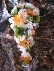 Fabulous fakes camo wedding flowers amp ribbon
