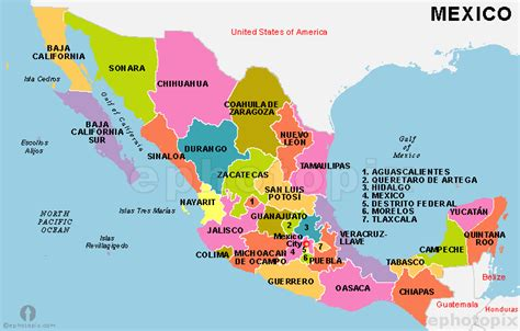 map of united states and mexico with cities mexico states map states map of mexico mexico country