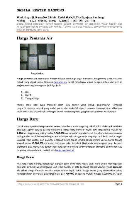 Daftar Water Heater Instant daftar harga pemanas air water heater gas listrik