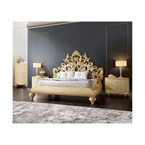 Gold Headboard by Gold And Glossy Carved Royal Bedstead With
