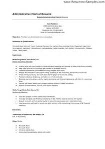 Sle Resume Ksa Exles Administrative Clerical Resume Description Sales Clerical Lewesmr
