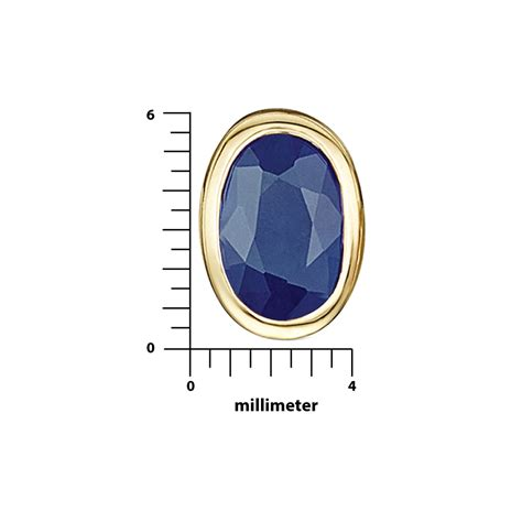Blue Sapphire 6 9ct 9ct yellow gold blue sapphire rubover set oval stud
