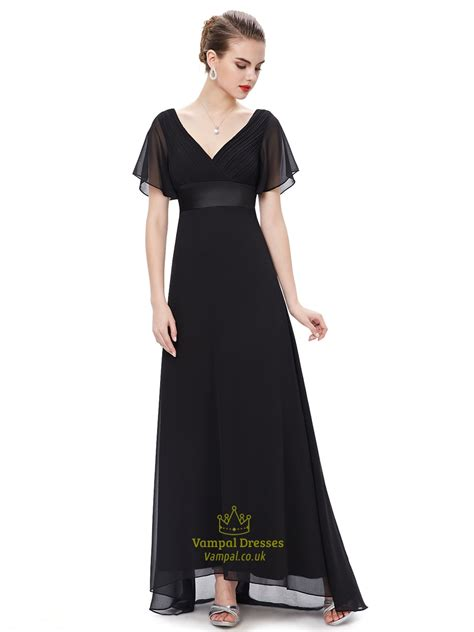 V Neck Chiffon Dress black v neck chiffon bridesmaid dress with flutter