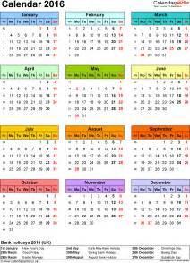Pdf Kalender 2016 Calendar 2016 Uk 16 Free Printable Pdf Templates