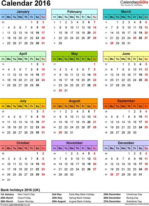 printable yearly calendar 2016 uk calendar 2016 uk 16 free printable pdf templates