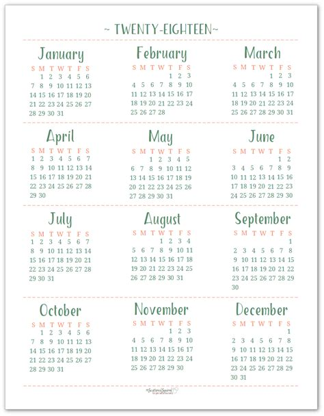 2018 Calendar Year 2018 Dated Yearly Calendar Printables Are Here