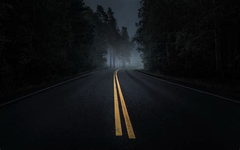 dark road forest night mood wallpapers dark road forest