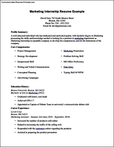 Curriculum Vitae Format Internship by Summer Internship Resume Template Free Sles