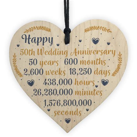 happy  wedding anniversary sign card gift heart fifty