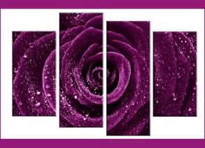 Tiger Wall Mural deep plum purple rose with water droplets dew 4 panel